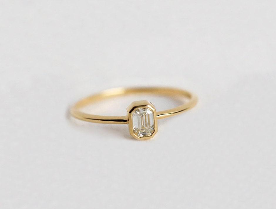 emerald cut diamond ring emerald cut engagement ring 18k solid gold - Emerald Cut Wedding Ring