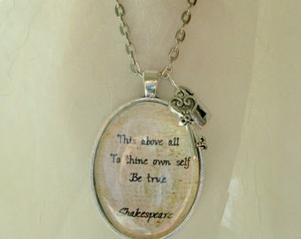 Shakespeare quote necklace, inspirational words jewellery, Shakespeare jewlery