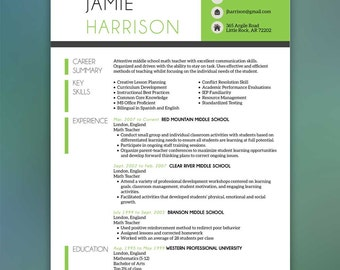 Teacher Resume Template - Resume with Free Cover Letter and References - Instant Download - MS Office- HARRISON