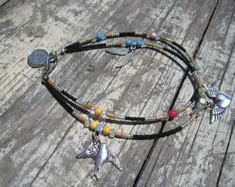 Wing, Heart, Bird Charm Anklet
