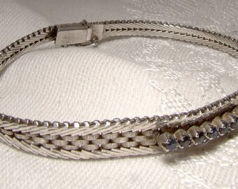 Sterling Silver 7 Sapphires Bracelet Italian 1970s Vior Italy Blue Sapphire Row