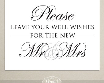 INSTANT DOWNLOAD - Wedding Reception Guest Book Sign - Well Wishes - 8x10 - Printable