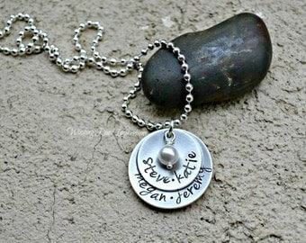 Simple Elegance- Personalized Hand Stamped Necklace with Swarovski Pearl