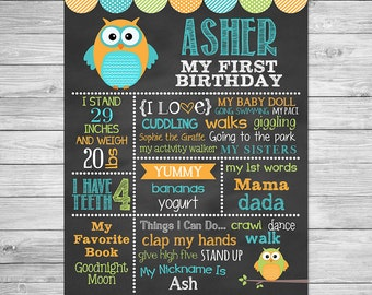 Owl First Birthday Chalkboard Poster Printable of Favorite Things -  Chalkboard Sign - Owl - It's a Hoot