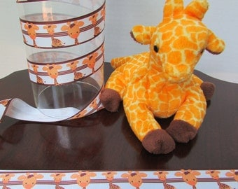 29-Just Giraffe | Jungle Animal Giraffe |  Giraffe Grosgrain Ribbon - 1 inch wide x3 or  5 yards