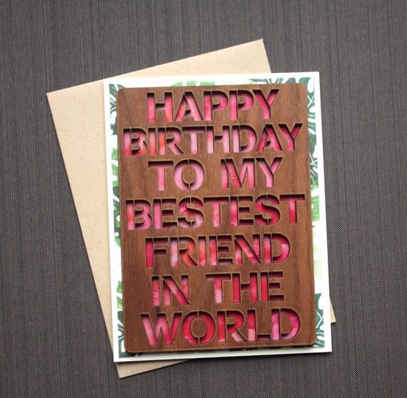 Best Friend Birthday Card Watercolor Birthday Card Wood