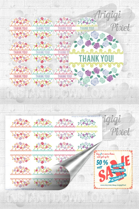 Editable Labels with Flowers, edit text circle tag, round label DIY, printable gift tag, party favor tag, jar decoration, download
