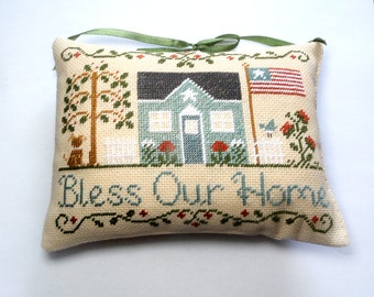 Patriotic decor Pillow, Red White and Blue Pillow, Fourth Of July Pillow, primitive americana pillow,  July 4th pillow, cross stitch pillow
