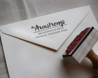 Custom Calligraphy Stamp, Return Address, Wood Mounted Rubber Stamp with Handle or Self-Inking, Armstrong Style