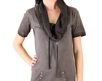 Acid Wash Cotton Short Sleeve Cowl Neck Tunic Top
