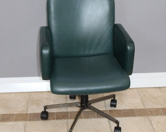 Mid Century office Chair Hunter Green Rolling  Steel base