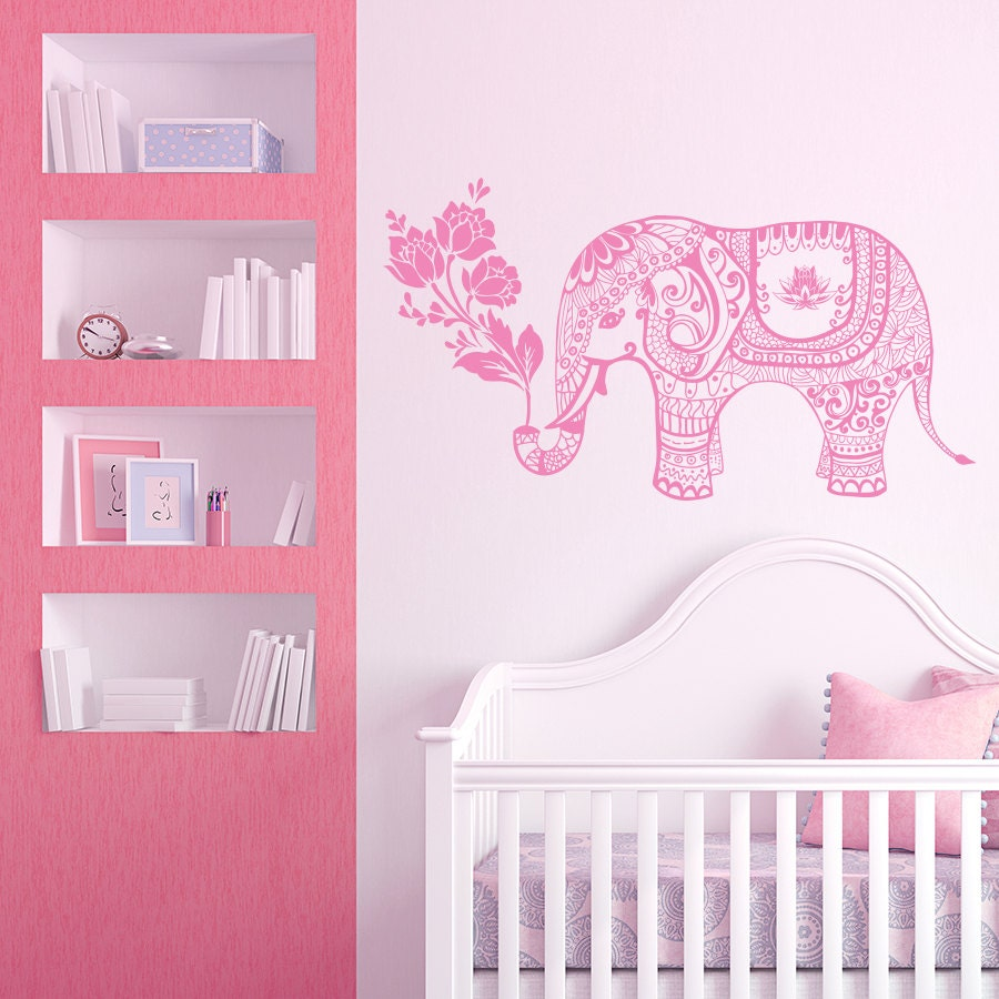 Elephant wall decal elephant yoga vinyl stickers indie wall zoom amipublicfo Choice Image
