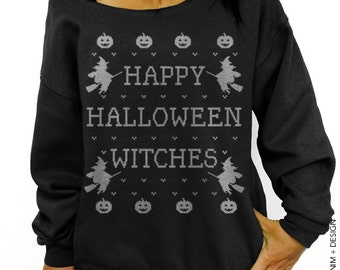 Halloween Shirt - Happy Halloween Witches - Black with Silver Slouchy Oversized Sweatshirt