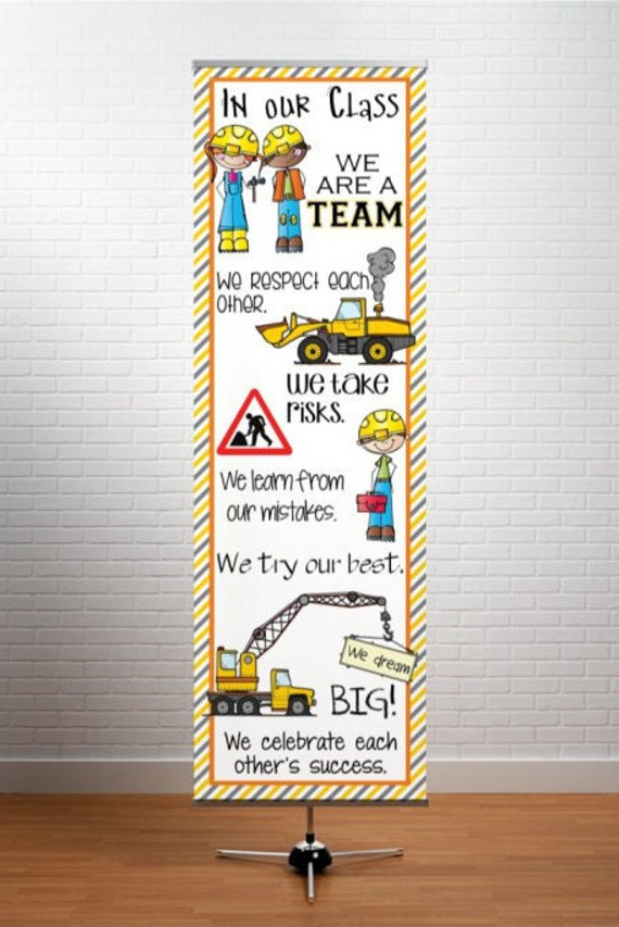 Classroom Decor Items ~ Construction theme classroom decor large banner in our