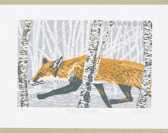 Fox art print - Red Fox and Birch Trees - Original limited edition hand cut linocut print.
