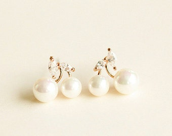 E028-1 White Cherry Bride Bridesmaid Pearl Rhinestone Stud Earrings Post Earrings Pierced Earrings 18 karat Plated & Sterling Silver Post
