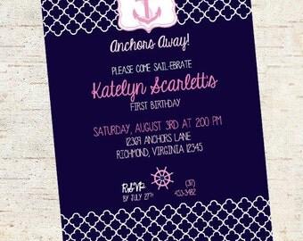 Nautical Birthday/Baby Shower Party Invitation