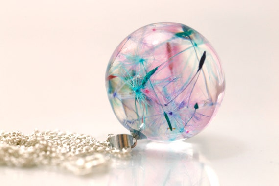 Resin Rainbow dandelion necklace: sterling silver 925 bridal jewelry blue pink purple wedding exclusive jewelry