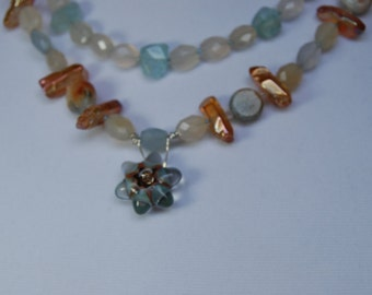 SALE  Peach and Teal Stone Necklace