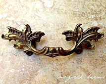 Petite French Pull in Antiqued Brass, Authentic Restoration Hardware, Salvaged Furniture Handle, drawer pulls