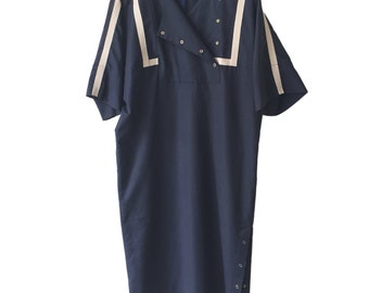 Navy 80s DDR Vintage Shirtwaist Dress Size M E D I U M