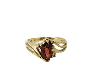 Garnet Ring 10k Gold Diamond Accents January Birthstone