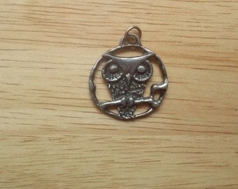 Grouchy Owl: 70's Pewter Pendant