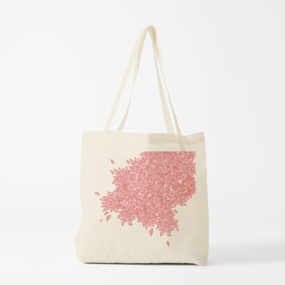 Pink Leaves, tote bag, groceries bag, cotton tote, reusable fabric tote, hand bag, shopper, gift for coworker, novelty gift.