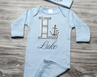Personalized handmade goods for your little by chesapeakebayby baby boy coming home outfit nautical newborn baby gift blue and gray anchor letter personalized gown negle Images