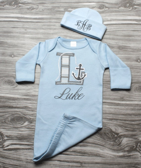 Baby Boy Coming Home Outfit Nautical Newborn Baby Gift Blue
