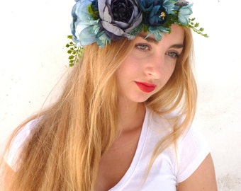 Blue Flower Crown, Wedding tiara, Bridal headband, Big peonies rustic wreath , Vine crown , Woodland headpiece