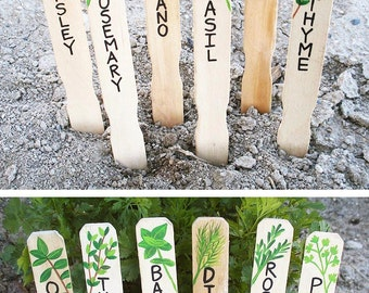 Handmade Herb Markers Set, Herb Signs, Plant Markers, Plant Labels, Hand Painted, Gift for Gardener