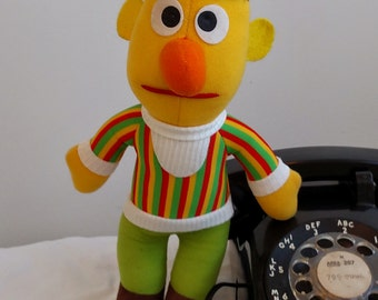 Sesame Street Burt and Ernie Hasbro Softie Plush Stuffed Toy from the 1980s