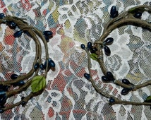 Set of two 3 inch midnight blue pip berry candle rings 5A
