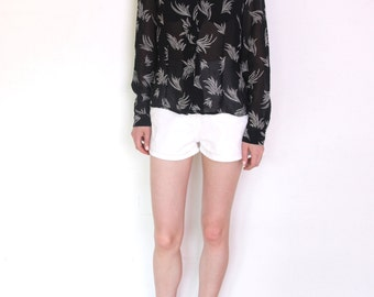 90's palm leafs sheer blouse, black and white print chiffon blouse, grunge festival see-trough shirt
