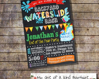 Waterslide Party Bash invitation end of the school year pool party invite chalkboard digital printable invitation you print invitation 13477
