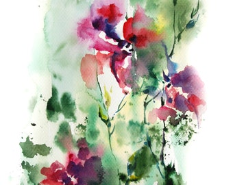 Abstract florals watercolor painting, ORIGINAL Watercolor Painting, pink green abstract art, watercolour modern art