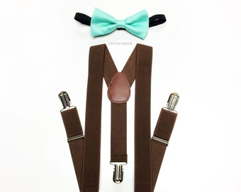 toddlers outfit, boys suspenders, mint bowtie, brown suspenders, toddler suspenders, boy suspenders, boys suspenders, brown suspenders set