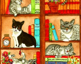 Library Kitties: Cats & Books available as blank greeting cards or prints