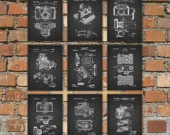 Camera Patent Prints Set of 9 - Vintage Camera - Polaroid - Rangefinder - 35mm Camera - Photography Gift Idea - Gift For A Photographer