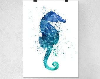 Seahorse Watercolor Wall Art Print - Modern Home Decor - Seahorse Giclee Art Poster - Marine Bathroom Decor Watercolour Painting Art
