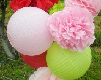 Strawberry shortcake hanging decor tissue pom poms, honeycomb ball, paper lantern pink, lime green, red