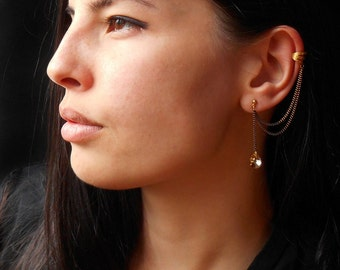Ear Cuff Earrings with Swarovski crystals, Drop Earrings, Dangle earrings
