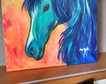 wild horse acrylic painting on canvas