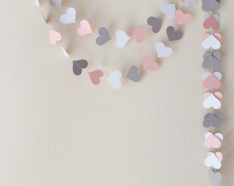 Pink Gray White  Paper Heart Garland , Pink Weddig garland, Pink baby shower decor, nursery decor, Engagement party