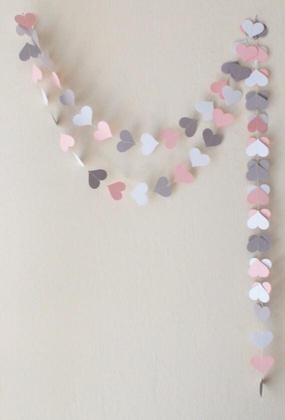 Rose gris blanc coeur guirlande en papier guirlande mariage