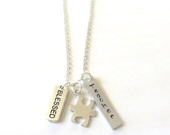 Autism Aspergers Teacher Instructor Tutor Puzzle Piece Charm Necklace You Choose Necklace Length