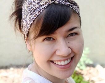 Cheetah Print Twist Headband, Leopard Print Twist Headband, Women's Handmade