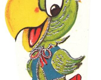 Parrot Vintage Valentine Die Cut with Silver Trim