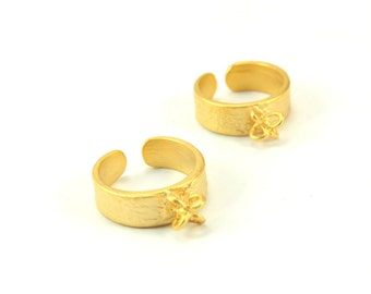 1 pc Gold Ring Base, (20mm x 11mm) Gold Ring Settings, 24k Shiny Gold Plated Ring Setting, Brass Adjustable Gold Ring Blank / GPS-199
